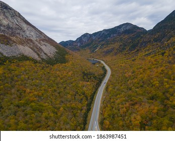 Franconia Notch with fall foliage aerial view including Profile Lake and Echo Lake in Franconia Notch State Park in White Mountain National Forest, near Lincoln, New Hampshire NH, USA.