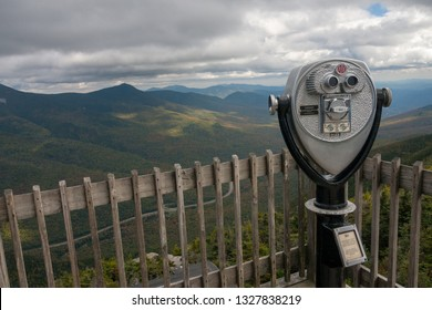 Franconia Notch State Park, New Hampshire / USA - September 18th 2014 : Binocular at the top of mountain Franconia Notch Statepark - The flume