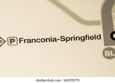 Franconia Springfield Station. Washington DC Metro map.