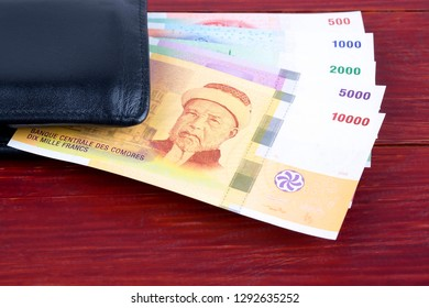 Francs from Comoros in the black wallet
