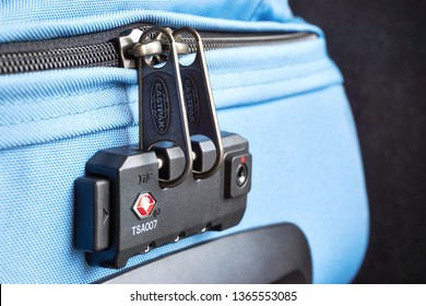 FRANEKER / THE NETHERLANDS - April 10 2019: TSA accepted lock on an Eastpak trolley suitcase with the red Travel Sentry logo. Travel Sentry develops and licenses  lock systems used in travel security.