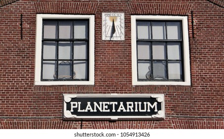 Franeker / Netherlands - October 14 2017: Planetarium facade of the old building and house of Eise Eisinga in the small idyllic town Franeker in Friesland