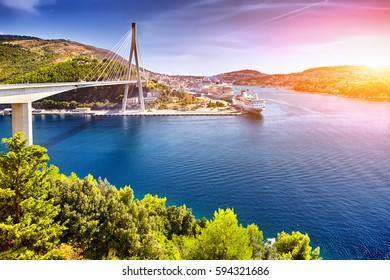 The Franjo Tudjman bridge and blue lagoon with harbor of Dubrovnik, Dalmatia, Croatia, Europe