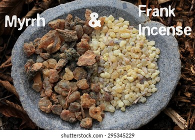 Frank Incense(olibanum gummi Ethiopia) Myrrh Gum Resin Incense (myrrhae gummi Kenia) tears stone bowl forest soil (bark mulch, leafs) background. Design online shops, postcards, written transparent.
