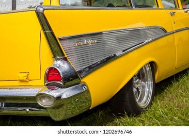 Franken, Germany, 18 June 2016: American vintage car, rear view