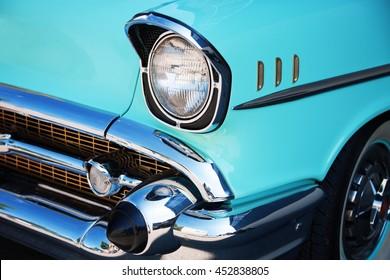 Franken, Germany, 21 June 2015: US vintage car, front detail