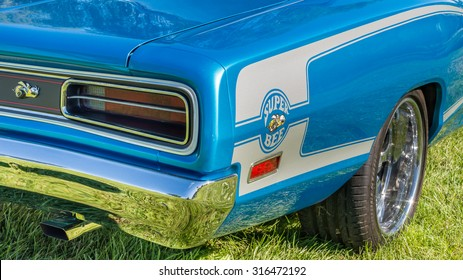 FRANKENMUTH, MI/USA - SEPTEMBER 13, 2015: A 1970 Dodge Coronet Super Bee car at the Frankenmuth Auto Fest, held in Heritage Park.