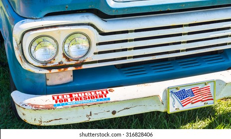 """FRANKENMUTH, MI/USA - SEPTEMBER 13, 2015: """"Ted Nugent For President"""" on a 1959 Ford truck at the Frankenmuth Auto Fest. Nugent is a political activist and former guitarist for the """"The Amboy Dukes""""."""