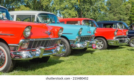 FRANKENMUTH, MI/USA - SEPTEMBER 6, 2014: A Three Chevrolet Bel Air cars at the Frankenmuth Auto Fest.