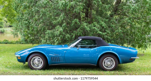 FRANKENMUTH, MI/USA - SEPTEMBER 8, 2018: A 1971 C3 Chevrolet Corvette car at the Frankenmuth Auto Fest, held in Heritage Park.