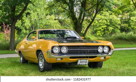 FRANKENMUTH, MI/USA - SEPTEMBER 8, 2018: A 1970 Pontiac GTO car at the Frankenmuth Auto Fest, held in Heritage Park.