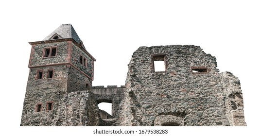 Frankenstein Castle (German: Burg Frankenstein) isolated on white background. It is located in the city of Darmstadt (Germany)