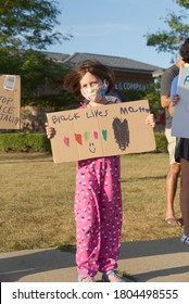 Frankfort, Illinois / USA - Aug. 27, 2020: Protesters and counter protesters of the black lives movement gather on opposite sides of the street holding signs and flags.