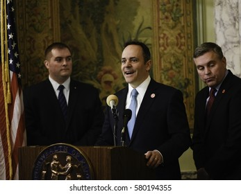 Frankfort, Kentucky - February 14, 2017: Kentucky Governor Matt Bevin announces his support for Senate Bill 120, a criminal justice reform measure sponsored by Senator Whitney Westerfield (l).