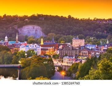 Frankfort, Kentucky, USA town skyline on the Kentucky River at dusk. - Shutterstock ID 1385269760