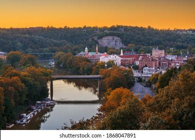 Frankfort, Kentucky, USA town skyline on the Kentucky River at dusk. - Shutterstock ID 1868047891