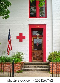 FRANKFORT, KY/USA - MAY 05, 2012: American Red Cross exterior door and logo. The American Red Cross is a humanitarian organization providing education and disaster relief efforts in the United States.