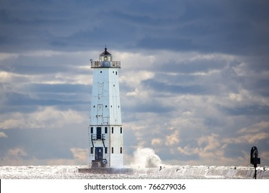Frankfort lighthouse in Frankfort, Michigan during stormy weather