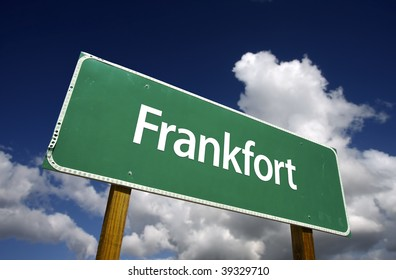 Frankfort Road Sign with dramatic blue sky and clouds - U.S. State Capitals Series.