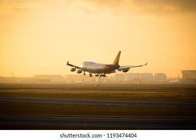 Frankfurt Airport, Germany, February 16th - 2018, Boeing 747 airplane of Asiana Airways landing on Frankfurt Airport in the twilight of evening sun