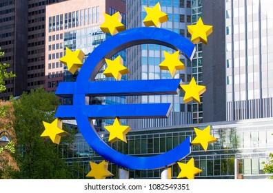 FRANKFURT - APR 26: Euro sign sculpture Frankfurt on April 26. 2018 in Germany