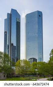 FRANKFURT - APRIL 3, 2014: view to skryscraper of German Bank downtown Frankfurt in Midday with logo. Frankfurt has the most skyscraper in Germany as home of Banks