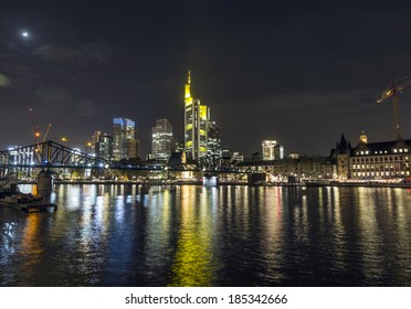 FRANKFURT - APRIL 4: Illuminated  buildings and skyline at night during Luminale on April 4, 2014 in Frankfurt, Germany. The LIght festival takes place in Frankfurt every 2 years and lasts one week.