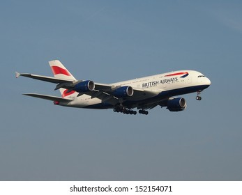 FRANKFURT - AUGUST 30: The first and brand new British Airways Airbus A380 operates a training flight, on August 30 2013 in Frankfurt, Germany.