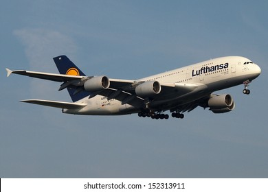FRANKFURT - AUGUST 30: a Lufthansa Airbus A380 on final approach, on August 30 2013 in Frankfurt, Germany.