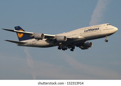 FRANKFURT - AUGUST 30: a new 800 series Lufthansa Boeing 747 on final approach, on August 30 2013 in Frankfurt, Germany.