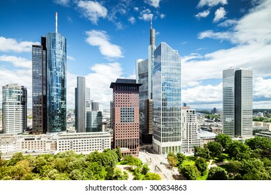 Frankfurt city downtown with view on park