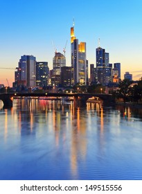 Frankfurt city skyline at dusk, Germany