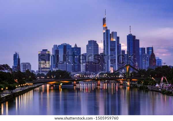 Frankfurt city skyline shot during the blue hour