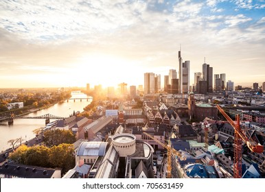 Frankfurt city skyline in sunlight