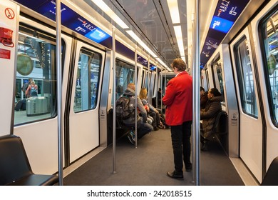 FRANKFURT - DEC 6: Skyline train for transport between the terminals at the Frankfurt International Airport. December 6, 2014 in Frankfurt Main, Germany
