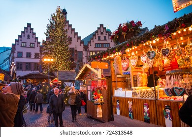 FRANKFURT - DECEMBER 08 2014: Christmas Market in historic center of Frankfurt am Main, Germany