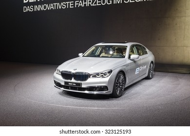Frankfurt, Deutschland - September 15, 2015: 2016 BMW 7-Series presented on the 66th International Motor Show in the Messe Frankfurt