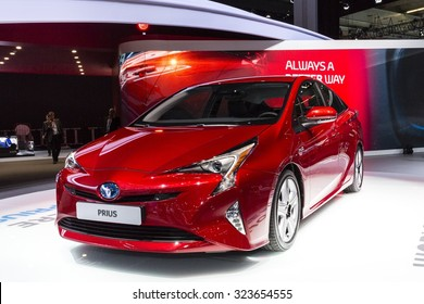 Frankfurt, Deutschland - September 15, 2015: 2016 Toyota Prius presented on the 66th International Motor Show in the Messe Frankfurt