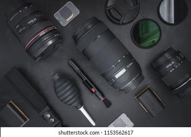 Frankfurt, Germany – 08/09/2018:  Professional photography gear on dark background without branding/logos