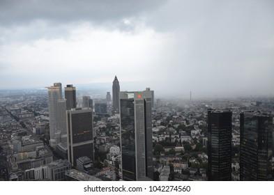 Frankfurt, Germany - 08.13.2016: View from the Maintower in Frankfurt