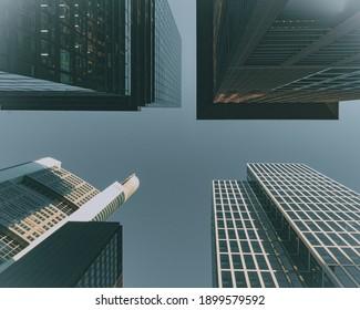 Frankfurt, Germany - 08.24.2020: Bottom up view of Frankfurt's skyscrapers buildings