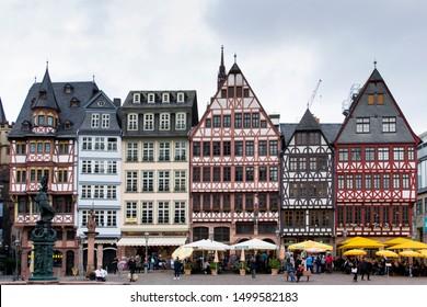Frankfurt, Germany; 09-07-2019: Romerberg Square un Frankfurt with timberframed houses