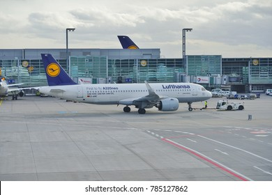 FRANKFURT, GERMANY -1 JAN 2018-An Airbus A320 neo from Lufthansa (LH) at the Frankfurt Airport (FRA). Lufthansa was the first airline to fly the A 320 Neo plane.