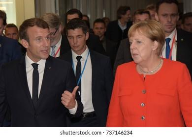 Frankfurt, Germany. 10th Oct, 2017. French president Emmanuel Macron and german chancellor Angela Merkel, Frankfurt Bookfair / Buchmesse Frankfurt 2017 opening ceremony