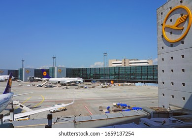 FRANKFURT, GERMANY -11 MAY 2018- View of airplanes from Lufthansa (LH) at the Frankfurt Airport (FRA), the busiest airport in Germany and a major hub for the German airline.