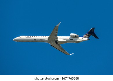 FRANKFURT GERMANY 11.08.2019 Lufthansa AIRLINES D-ACND Bombardier CRJ-900LR take off at fraport airport against blue sky