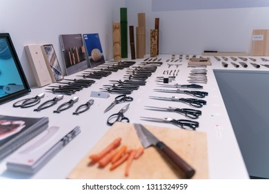 Frankfurt, Germany. 11th Feb 2019. Impressions from the Ambiente trade fair 2019: Knife display at Mujun. Ambiente is a leading consumer goods trade fair