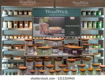 Frankfurt, Germany. 11th Feb 2019. Impressions from the Ambiente trade fair 2019: Assortment of WoodWick scented products. Ambiente is a leading consumer goods trade fair