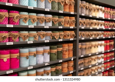 Frankfurt, Germany. 11th Feb 2019. Impressions from the Ambiente trade fair 2019: Colorful candle display by Decostar. Ambiente is a leading consumer goods trade fair