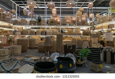 Frankfurt, Germany. 11th Feb 2019. Impressions from the Ambiente trade fair 2019: Baskets by MK Handicraft India. Ambiente is a leading consumer goods trade fair